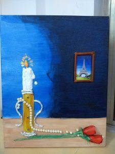 This is a painting of a candle burning on a stand that is placed on a table.