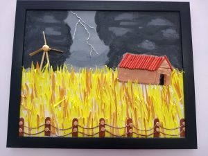 This painting shows fenced dry yellow-brown grass, dark grey sky, a lightning bolt, a hut and a windmill.